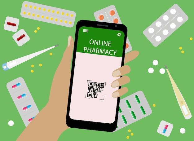온라인 마약 구매 개념입니다. 벡터 일러스트 레이 션. 휴대 전화 및 온라인 약국 응용 프로그램과 함께 손을.