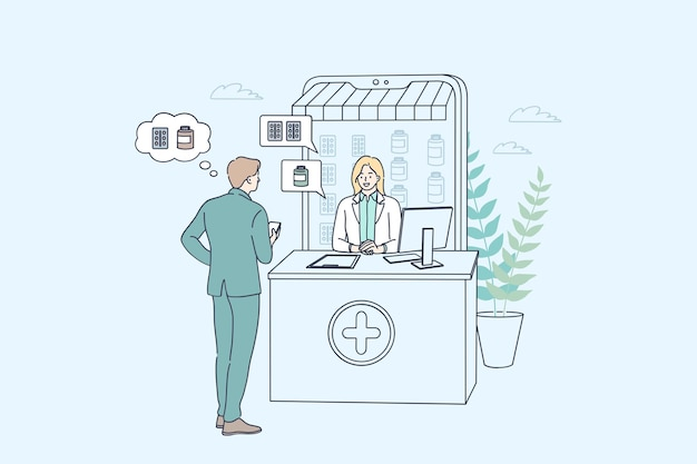 온라인 약국 및 약국 개념