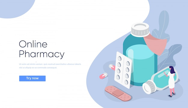 Online drugstore concept illustration.  flat isometric medicine pills and bottles with pharmacist composition.
