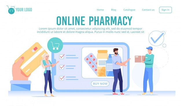Online drugstore pharmacy service landing page