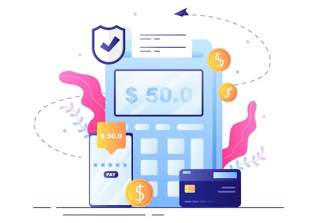 스마트폰을 통한 디지털 결제를 위한 기술, 데이터 보호 및 결제 보안이 포함된 온라인 전자 뱅킹 앱, 지갑 또는 은행 신용 카드 벡터 일러스트