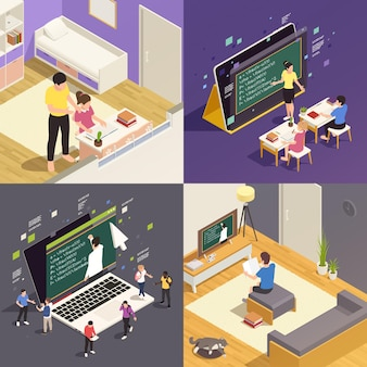 Online education 2x2 isometric  with children studying in internet watching video course 3d