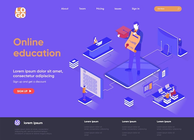 Online education 3d isometric landing page website   illustration with people characters