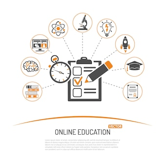 チラシ、ポスター、webサイトのテストフラットアイコンセットを使用したオンライン教育とeラーニングの概念。孤立したセクターの図