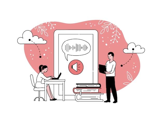 온라인 교육 및 전화 화면, 흰색 배경에 고립 된 만화에 대 한 사람들과 e- 러닝. 학생들은 인터넷에서 지식을 얻습니다.