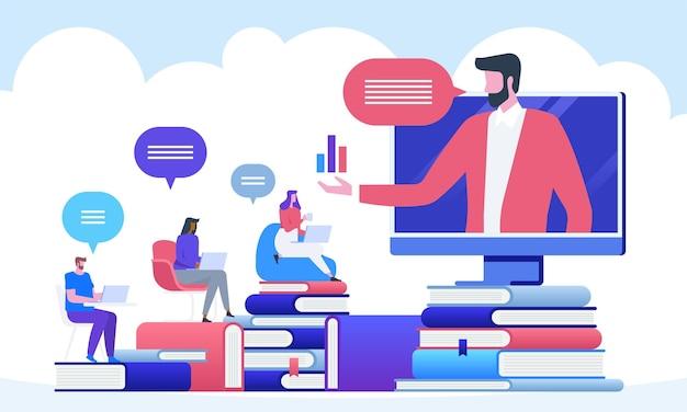 オンライン教育と卒業。コンピューターのモニターまたはスマートフォンの画面上のオンライン教師