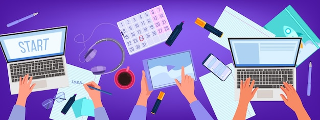職場の上面図、手、ラップトップ、タブレットとオンライン教育とホームオフィスのイラスト