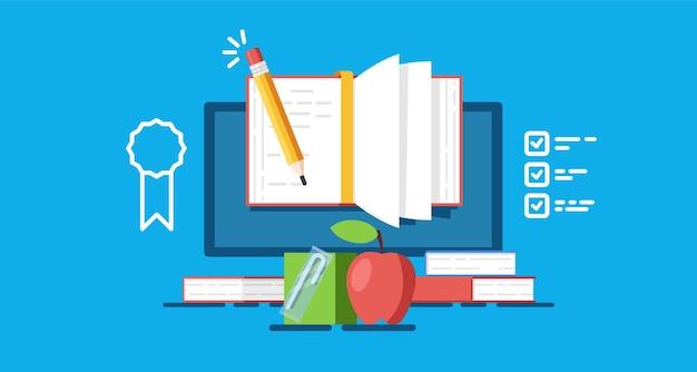 Онлайн-образование и учеба, школьный завтрак, интернет-обучение