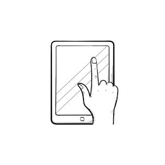 온라인 교육 앱 손으로 그린 개요 낙서 아이콘. 인쇄, 웹, 모바일 및 인포그래픽을 위한 화면 벡터 스케치 그림에 온라인 교육 응용 프로그램이 있는 태블릿 컴퓨터.