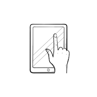 Online education app hand drawn outline doodle icon. tablet computer with online education application on the screen vector sketch illustration for print, web, mobile and infographics.