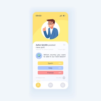 Online education application smartphone interface vector template. mobile app page light theme design layout. user post screen. flat ui for application. internet teacher on phone display