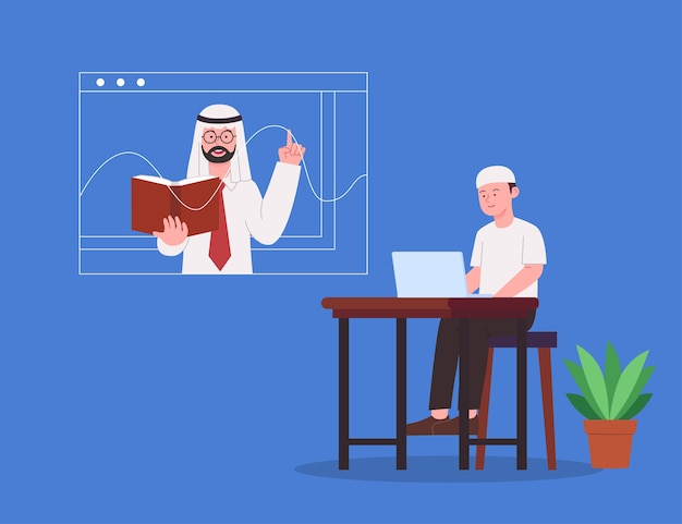 Online education arabian teacher explaining lesson