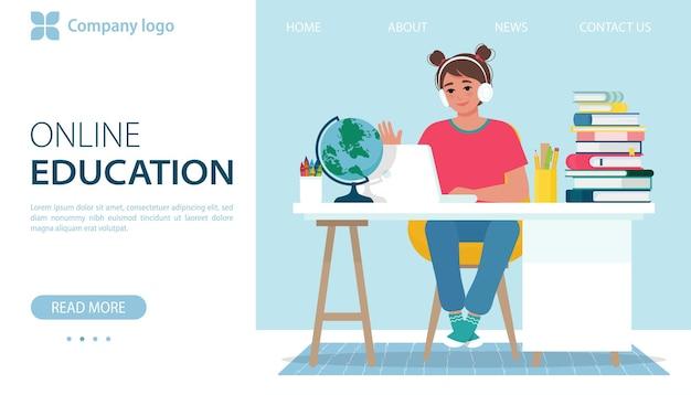 온라인 교육 배너 헤드폰을 쓴 소녀는 집에서 노트북을 사용하여 온라인 학습을 합니다.