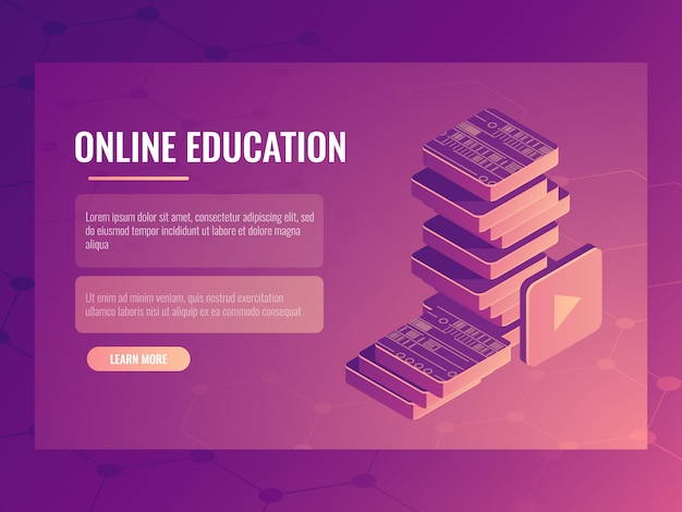 Online education banner, learning isometric electronic courses and tutorials, digital books