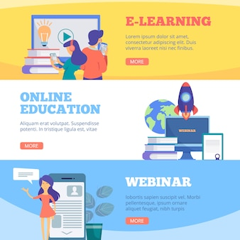 Online education banners. webinar web school conference e learning distance courses flat pictures