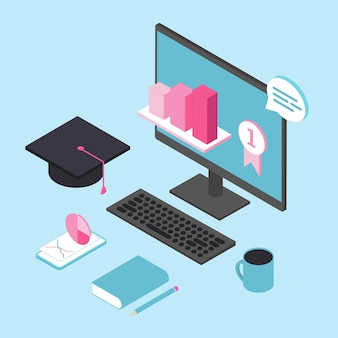 Online education for business 3d isometric vector concept. online training courses.