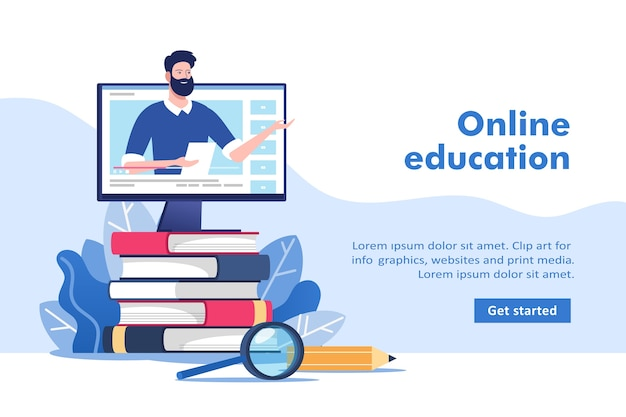 Online education or business training. pile of books and computer with teacher.