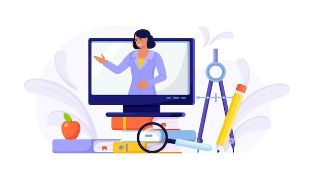 Online education or business training. pile of books and computer with video course and professional personal teacher on screen. educational web seminar, internet classes, e-learning by webinar