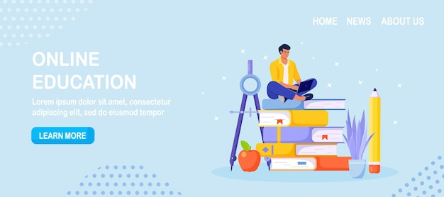 Online education or business training. pile of books and man student learning web courses or tutorials by laptop. educational web seminar, internet classes, e-learning by webinar