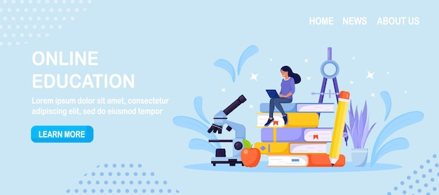 Online education or business training. pile of books and woman student learning web courses or tutorials by laptop. educational web seminar, internet classes, e-learning by webinar
