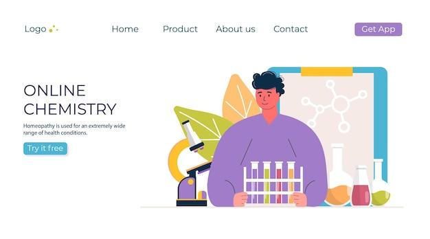 Концепция химии онлайн-образования. человек с микроскопом в промо лаборатории. шаблон для баннера, приглашения, объявления, целевой страницы, обучения. vecror современный дизайн.
