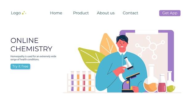 Концепция химии онлайн-образования. человек с микроскопом в промо лаборатории. шаблон для баннера, приглашения, объявления, целевой страницы. vecror современный дизайн.