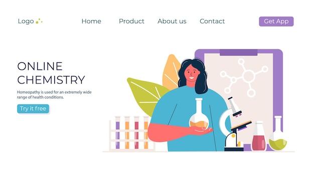 Концепция химии онлайн-образования. женщина с микроскопом в промо лаборатории. шаблон для баннера, приглашения, объявления, целевой страницы. vecror современный дизайн.