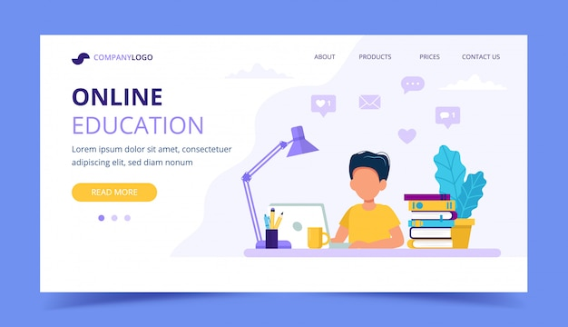 Online education for children landing page.