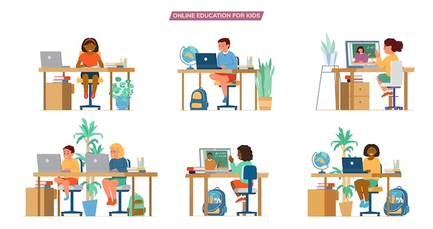 Online education for children   set. different ethnicity boys and girls sitting at desks in front of laptops learning.