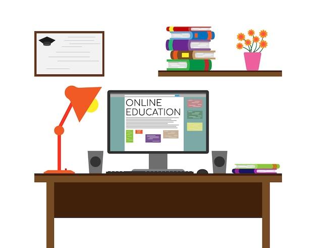 コンピューターと本を使ったオンライン教育の構成フラットベクターイラスト