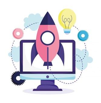 オンライン教育、コンピューターロケットのアイデア創造性研究デジタル