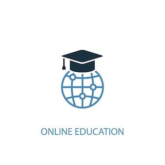 オンライン教育のコンセプト2色のアイコン。シンプルな青い要素のイラスト。オンライン教育コンセプトシンボルデザイン。 webおよびモバイルui / uxに使用できます