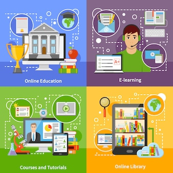 Online education concept 4 flat icons