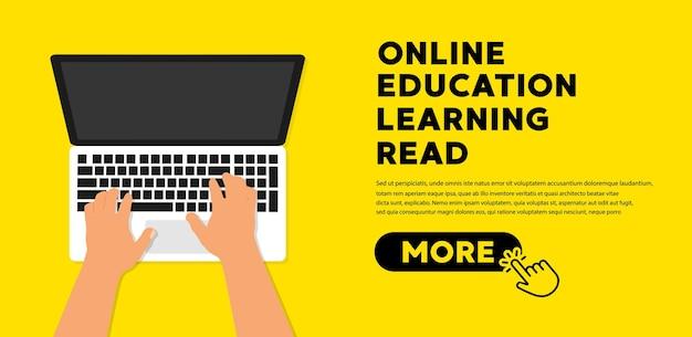 Online education concept banner flat illustration. book icon flat vector illustration