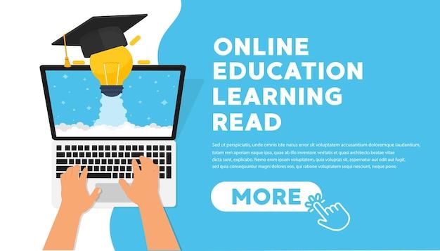 Online education concept banner flat illustration