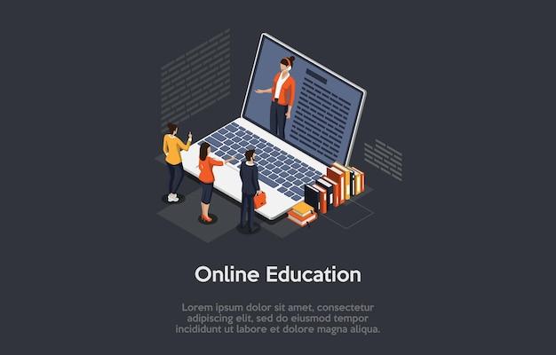 온라인 교육 개념 화면에 큰 노트북 여성 교사