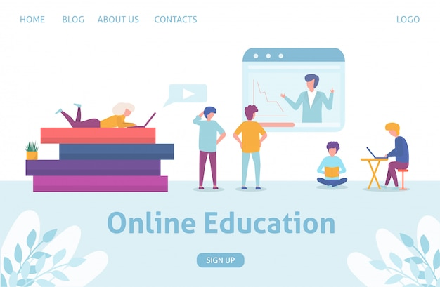 Online education concept business people training and learning, huge books with tablet sqreen and tiny people flat illustration.