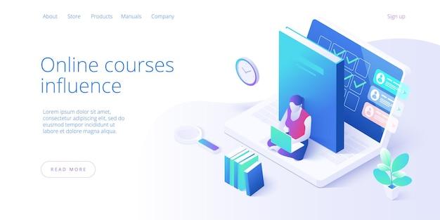 オンライン教育のコンセプトデザイン。自宅でオンラインで学習する学生。ノートパソコンを見て、スマートフォンで勉強している人々のキャラクター