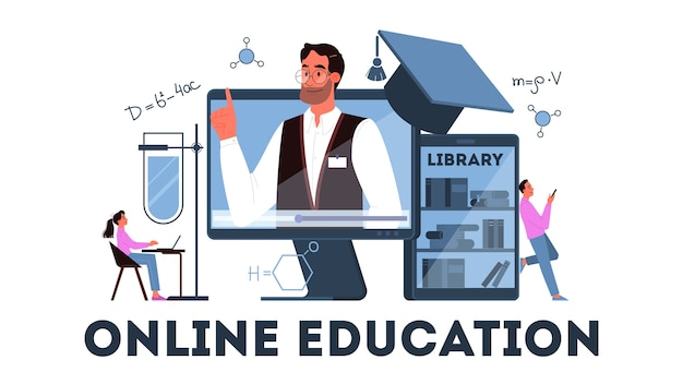 オンライン教育の概念。デジタルトレーニングと遠隔学習。コンピューターを使用してインターネットで勉強します。ビデオウェビナー。図