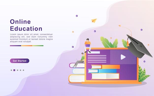 Концепция онлайн-образования. электронное обучение и онлайн-курсы, онлайн-курсы обучения, интернет-обучение, учеба в университете.