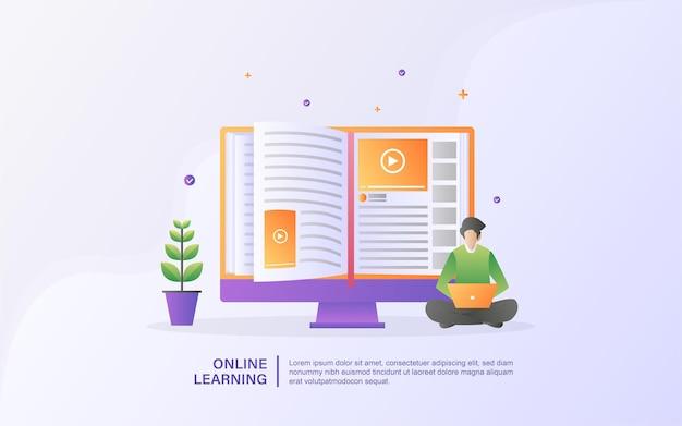 オンライン教育の概念。 eラーニングおよびオンラインコース、オンライントレーニングコース、インターネット学習、大学学習。
