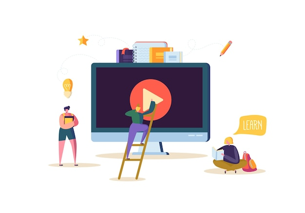 Online education concept. e-learning with flat people watching streaming video course on computer. graduation university college students characters.