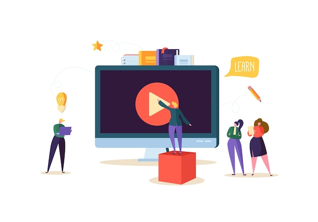 온라인 교육 개념. 컴퓨터에서 스트리밍 비디오 코스를 시청하는 평평한 사람들과 함께하는 e- 러닝. 졸업 대학 대학생 캐릭터.