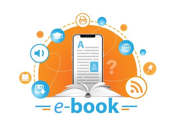온라인 교육 개념 전자책 리더 및 책