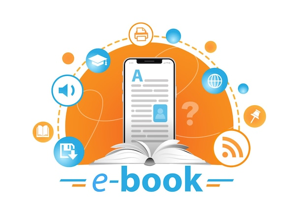 Online education concept ebook reader and books