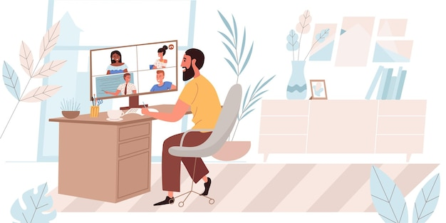 Online education concept in flat design. man is watching webinar from computer at home. teacher conducts video conference lesson for students. distance learning people scene. vector illustration