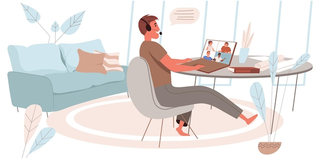 Online education concept in flat design. man studying remotely from home office. teacher conducts training on video conference. webinars, online courses, e-learning people scene. vector illustration