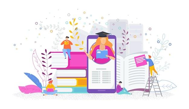 Концепция онлайн-образования. девушка-профессор учит людей