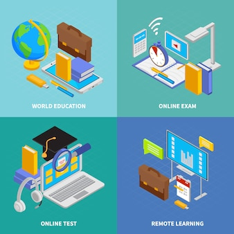 Online education concept icons set with world education symbols isometric isolated  illustration