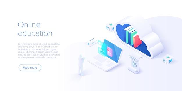 Иллюстрация концепции онлайн-образования в изометрическом дизайне